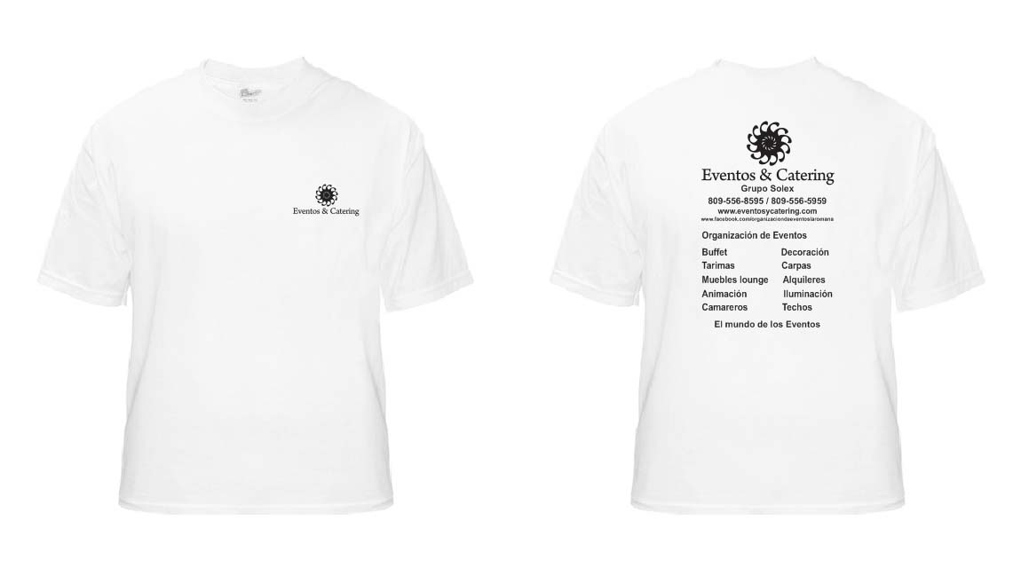 t-shirt white eventos and catering
