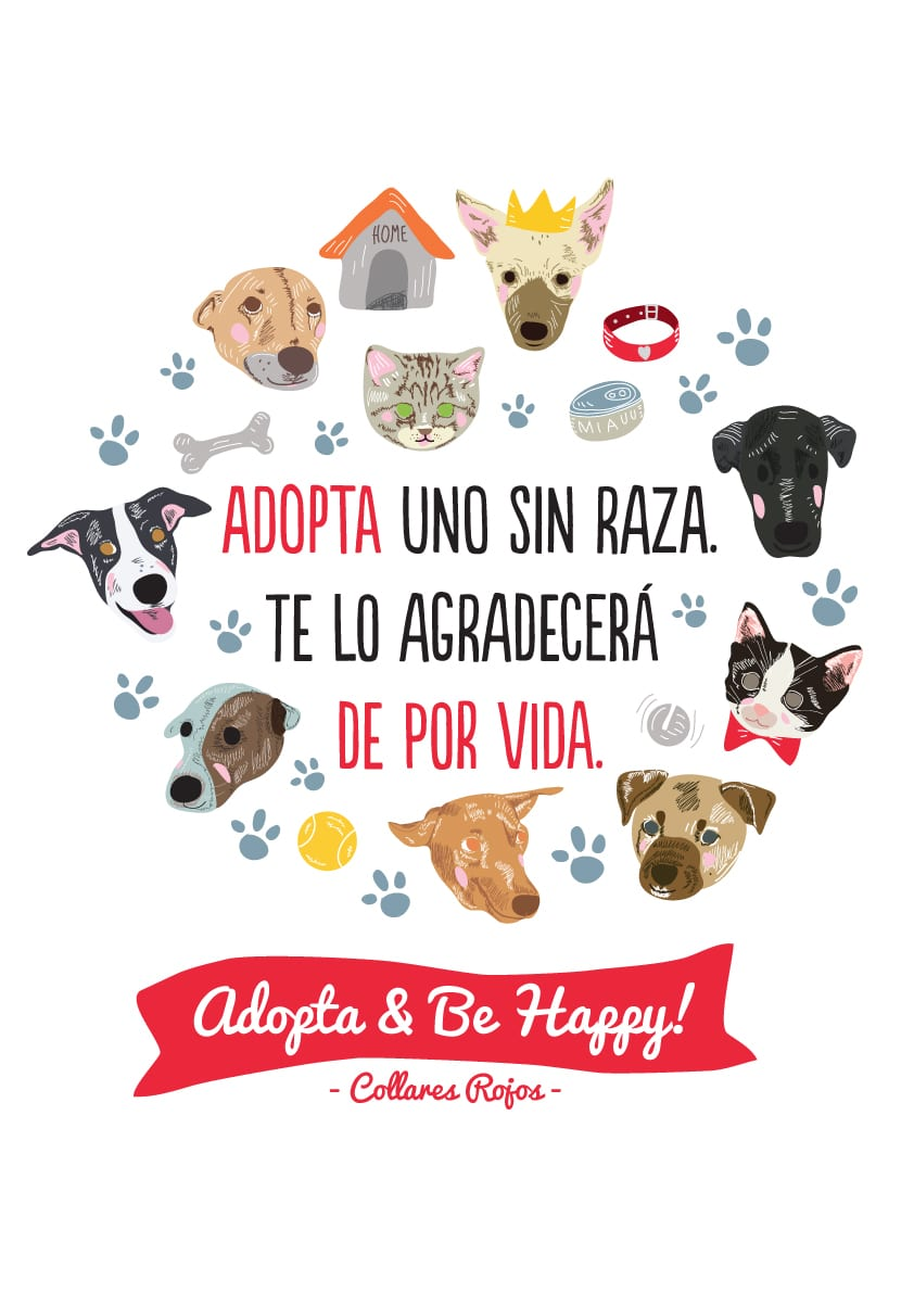 illustration-Collares Rojos campaing adopt and Be Happy