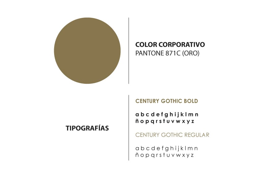 Tipografías - Century Gothic Regular y Bold y color corporativo - Pantone 871C (oro)