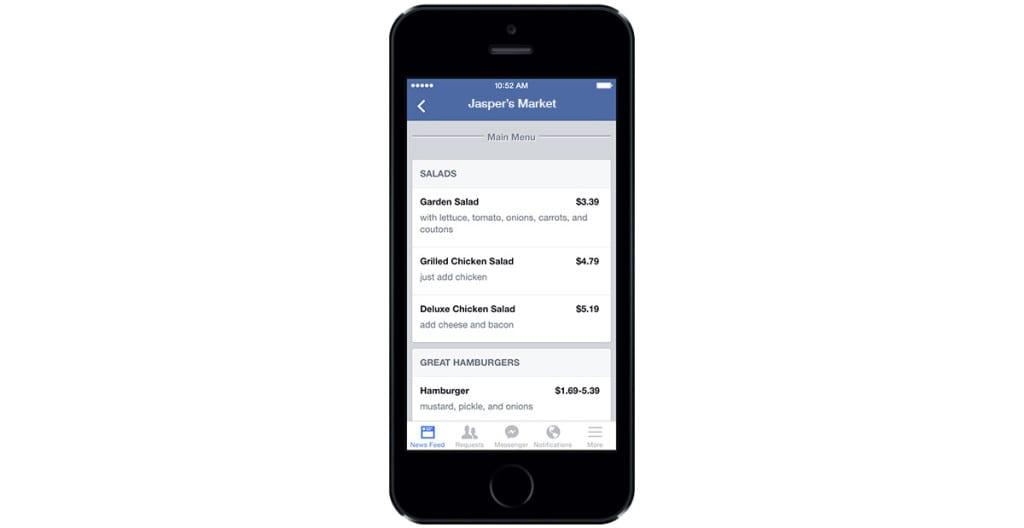 Menú de su negocio, restaurante, bar, cafetería - Comidas, bebidas... en Facebook para empresas