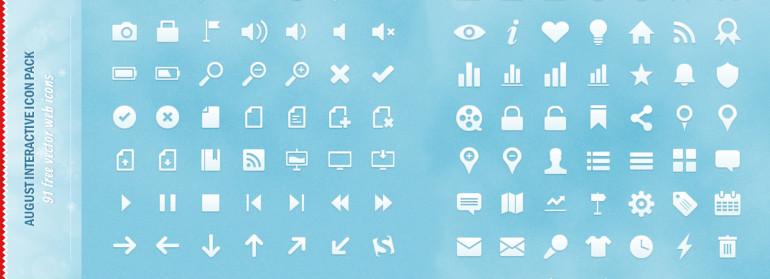 91 iconos vectoriales gratis para sitios web